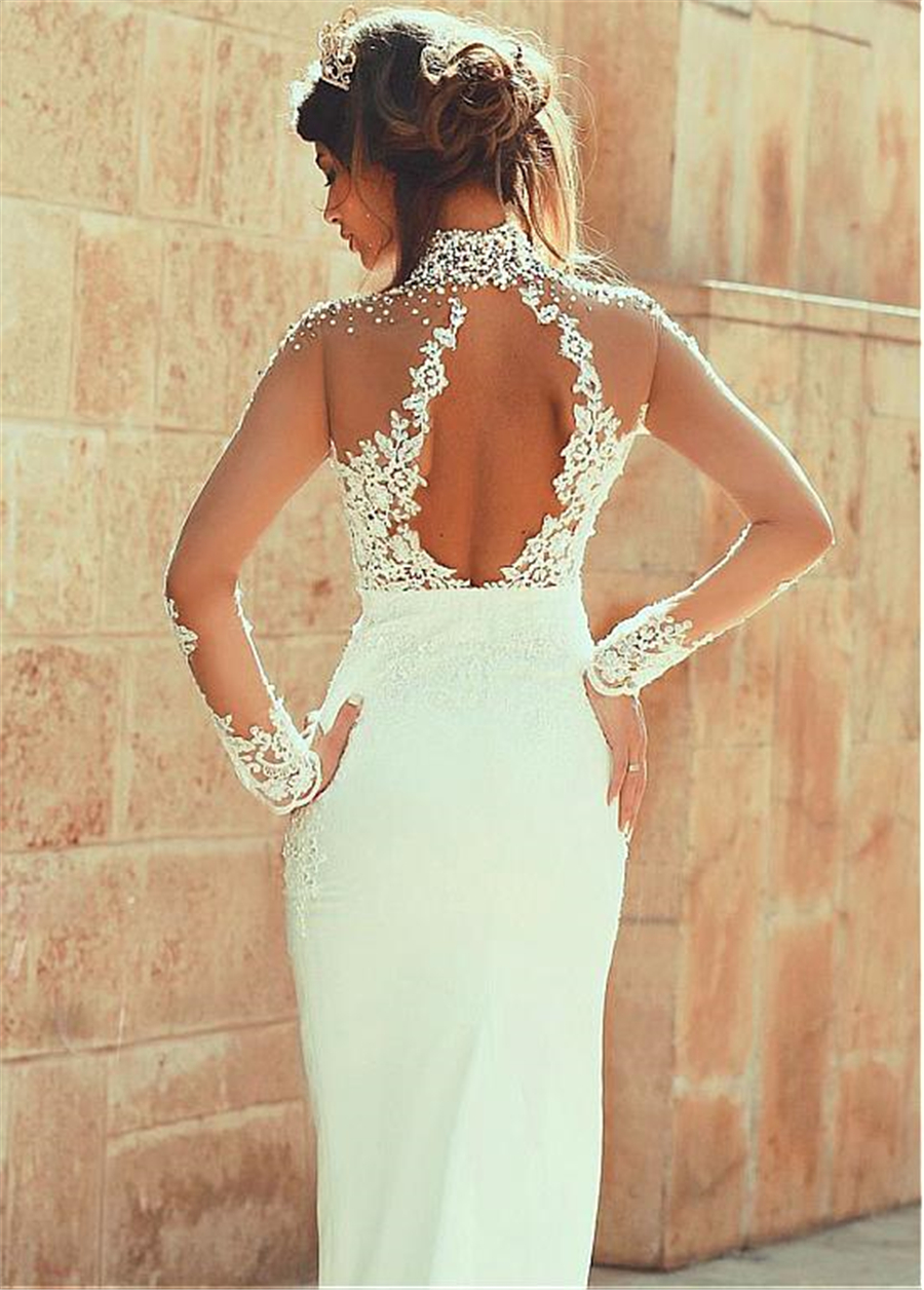 2019 Exquisite Sheer Back Sheath High neck With Pearls Long Sleeves See Through Floor Length Wedding Dresses Sexy Backless - 3