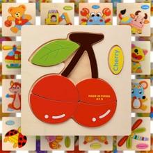 Деревянная головоломка Монтессори Сортировка математические животные фрукты кирпичи дошкольного обучения обучающая игра малыш головоломки игрушки