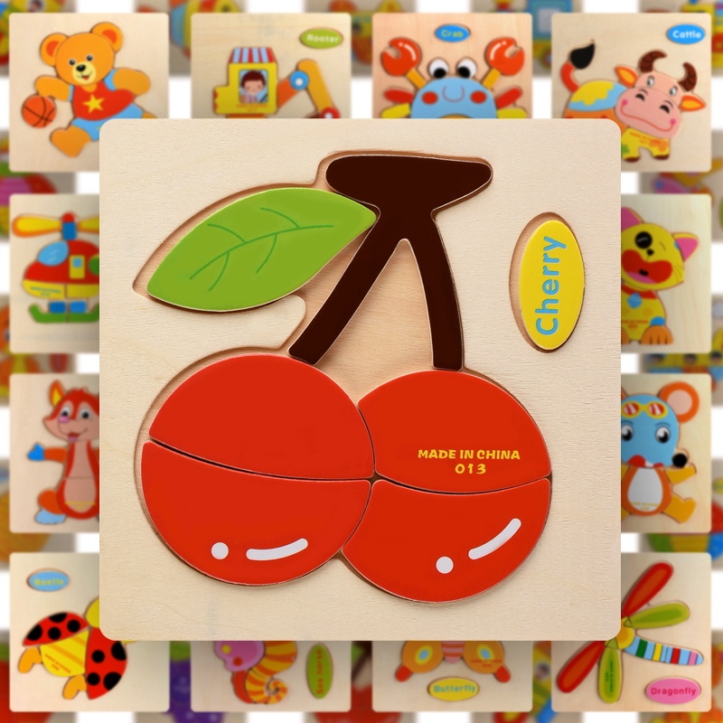 Wooden Montessori Puzzle Sorting Math Animals Fruit Bricks Preschool Learning Educational Game Baby Toddler Jigsaw Puzzles Toys(China)