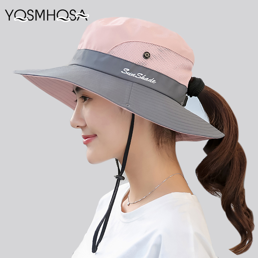 Summer Mesh Wide Brim Sun Hats For Women Breathable Sunhat Outdoor UV Protection Top Men Bucket Hats Sport Fishing Unisex WH609