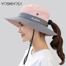 Summer Mesh Wide Brim Sun Hats for Women Breathable Sunhat Outdoor UV Protection Top Men Bucket Sport Fishing Unisex WH609