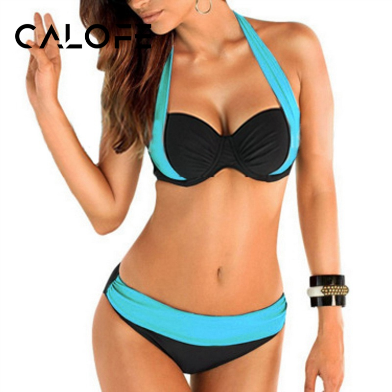 CALOFE Bikinis Women Swimsuit Bathing-Suits Biquin Push-Up High-Waist