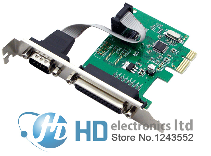 RS232 RS-232 Serial Port COM & DB25 Printer Parallel Port LPT to PCI-E PCI Express Card Adapter Converter WCH382 Chip gilding socket usb to rs232 data converter virtual serial port virtual com port virtual 232 adapter for windows8