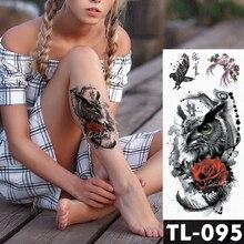 цена на Water Transfer Rose yellow eyes Owl Temporary Tattoo Sticker Dark animal Pattern body art Waterproof Fake Flash Tattoo for men