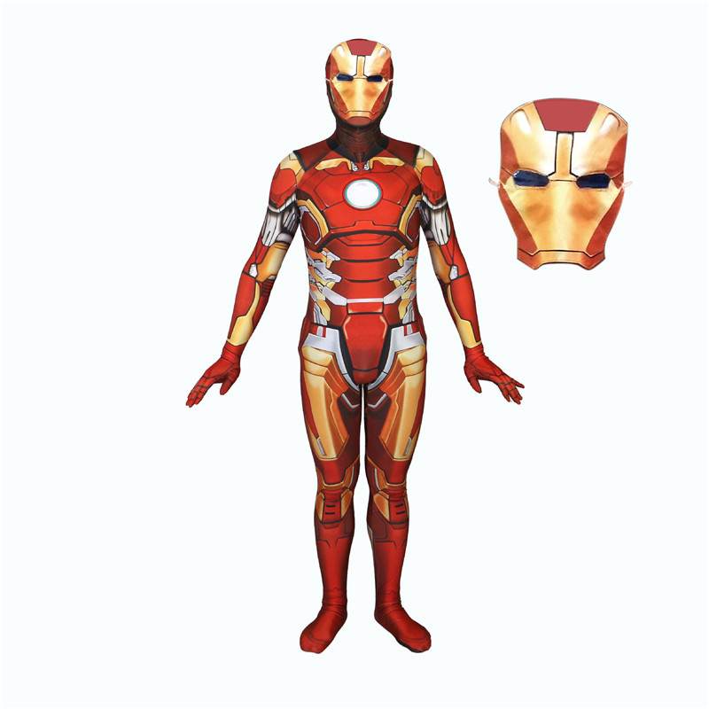 3D Printing Marvel Iron Man Cosplay Siamese Tights Halloween Cosplay Clothing Mask BOOCRE Golden