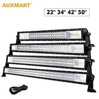 Auxmart 3 Row 22 34 42 50 Car Straight LED Light Bar Led Work Lights Combo Spot Flood Lamp 12V 24V Off Road LED