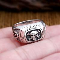 100 925 Silver Skeleton Ring Vintage Sterling Silver Punk Man Ring Real Pure Silver Skull Ring