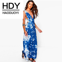 HDY Haoduoyi Sexy Women Dress Deep V Neck Flare Sleeveless Patchwork Female Elegant Dresses Vestidos Summer