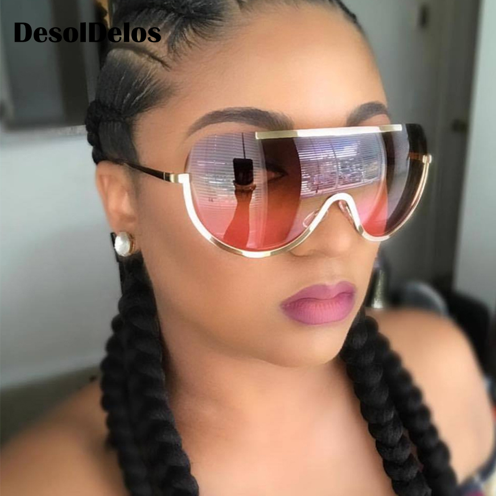 2019 New Oversize Shield Sunglasses Big Frame Alloy One Piece Sexy Cool Sun Glasses Women Gold Clear Eyewear Gradient gorros femininos