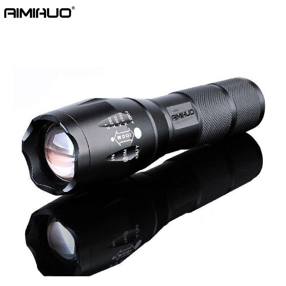 AIMIHUO Portable LED Flashlight 3800LM 5 Light mode Cree Xm-L T6 Zoomable Self Defense Torch For 18650 Or 3*AAA Battery Torch leshp xm l t6 5000lm aluminum waterproof zoomable cree 5 mode led flashlight torch light for 18650 rechargeable battery or aaa
