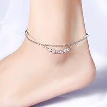 Пляжный браслет на щиколотку с двумя сердечками женский в форме