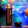 Super Speed USB Flash Drive 16 GB 32 GB 64 GB 128 GB de Memoria palo de Metal Pen Drive Dispositivos de Almacenamiento Móvil de Estilo de Negocios U disco