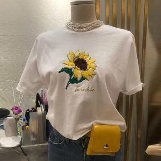 8576f56b1 RenYvtil Embroidery White Leisure 2018 Unique 2018 T Shirts Summer Novelty Tee  Shirt Short Sleeve Women Cotton O-Neck Tops Tees