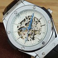 Luxury Brand Goer Men Watches Leather Band Automatic Mechanical Watches Fashion Skeleton Wrist Watches Relogio Masculino WINNER