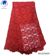 BEAUTIFICAL red cord lace fabric high quality guipure laces for nigerian party 5yards/lot best selling online ML2G206