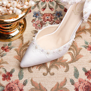 White Prom Shoes | Woman Shoes Wedding Bridal White High Heel Platform Pointed Toe Lace Ankle Strap Bow Satin Lady Prom Evening Pumps Shoes Women