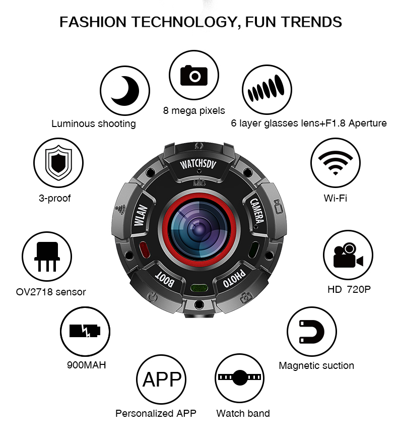 KOMERY Mini Sport Actie Camera HD1080P WiFi Waterdichte 30 M DV 5 pcs groothoek lenzen Night Versie Schieten smart Horloge Camera - 2
