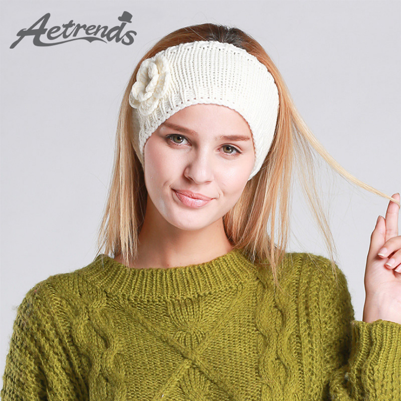 [AETRENDS] Winter Knitting Hair Band Turban Headband Hair Accessories for Women Z-3084 metting joura vintage bohemian ethnic tribal flower print stone handmade elastic headband hair band design hair accessories