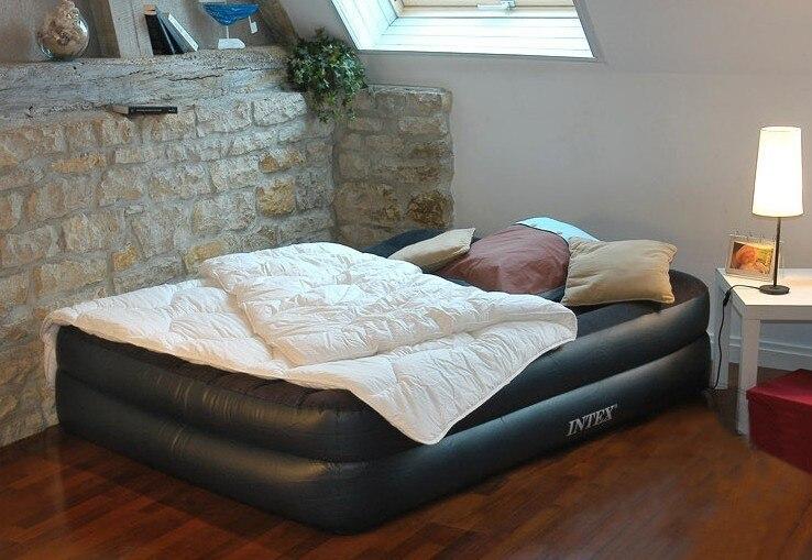 INTEX luxe oreiller intégré double augmentation matelas gonflables double airbed tapis augmenté 66720