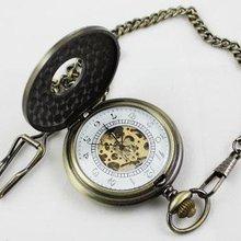 Античная откидная крышка полые механические Бронзовый Скелетон карманные, на цепочке часы