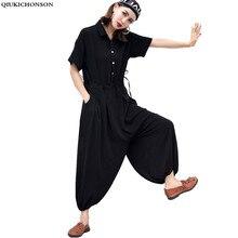 summer 2018 plus size jumpsuits korean fashion jumpsuite women rompers lace-up waisted wide leg jumpsuit black jumpsuit цена