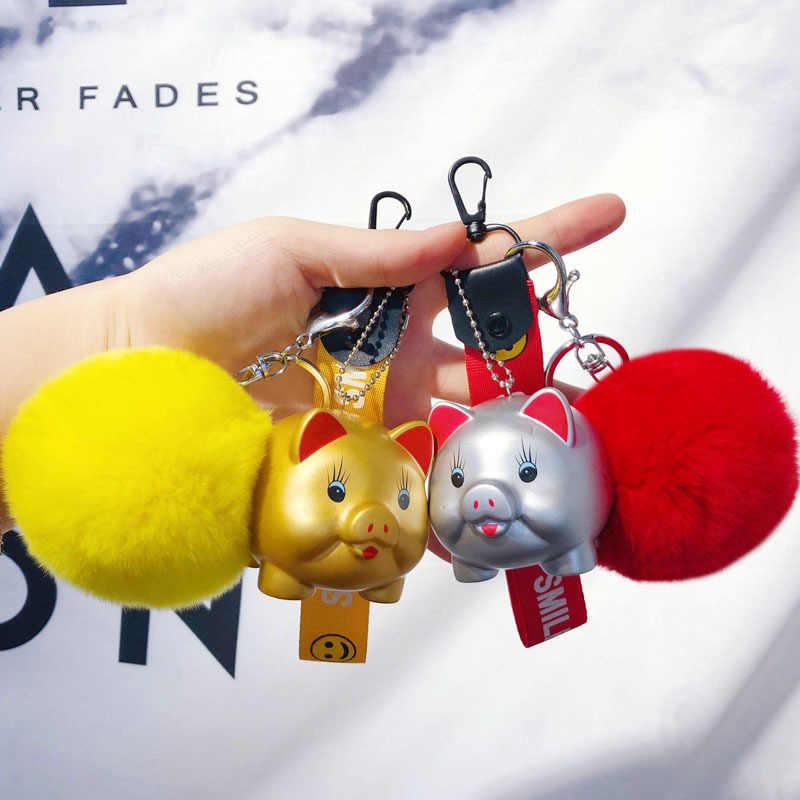 Animal dos desenhos animados Fluffy Rabbit Fur Pom Pom Pompons pele de Porco da sorte Chaveiro Boneca Chave Do Carro Anel Chave Bolsa Chains Bijuterias porte Clef