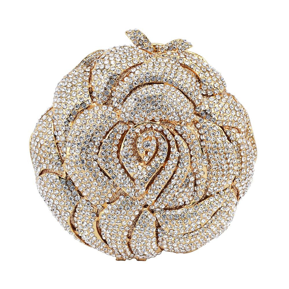 Silver Golden Crystal Evening Bag Rhinestone Luxury Studded Feast Clutch Bag Rose Flower Diamond Sparkly Party Purse 88239Silver Golden Crystal Evening Bag Rhinestone Luxury Studded Feast Clutch Bag Rose Flower Diamond Sparkly Party Purse 88239