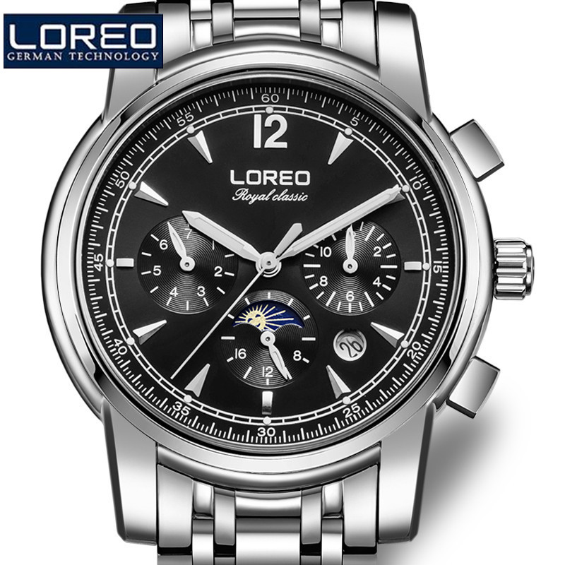 loreo design multi function automatic mechanical big watches full steel atmos army clock men s watch christmas gift with box a37 LOREO Watches Men Army Waterproof Watch Full Steel Sport Military Men Wristwatch Sapphire Automatic Mechanical Wristwatch J95