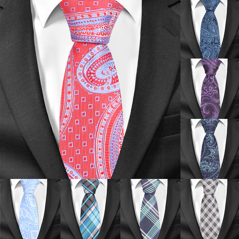 Men Tie Paisley Classic Neckties For Men Formal Jacquard Polyester Slim Ties For Wedding Party 6cm Width Skinny Groom Neck Ties