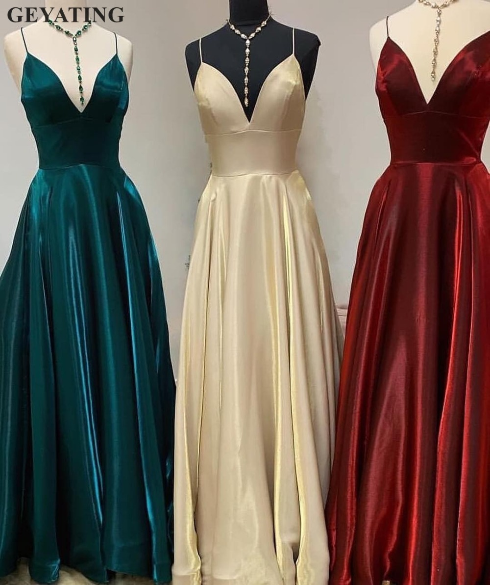 Simple Spaghetti Straps Long Burgundy   Prom     Dresses   for Girls V-neck Hunter Green Gold Satin Party Formal   Dress   Evening Gowns