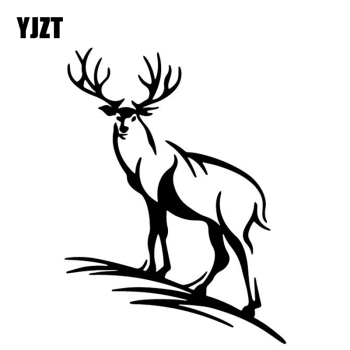 YJZT 12.6CM*16.8CM Deer Vinyl Decal Creative Decoration Car Sticker Car Door Accessories Black/Silver C4-1914 image