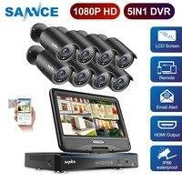 SANNCE FHD 1080 P CCTV камера система 5 в 1 8CH камера видеонаблюдения с 10,1 lcd и 8 шт открытый набор камер наблюдения безопасности