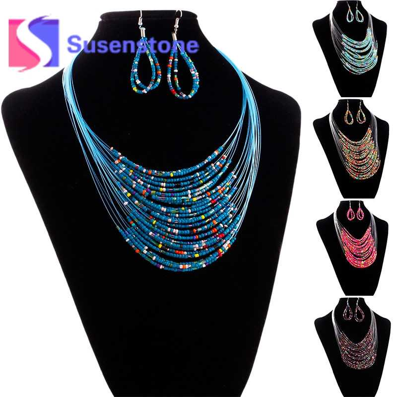 2018 New Fashion Jewelry Multicolor Multi-layer Resin Beads Necklaces and Drop  Earrings Set  Jewelry Sets