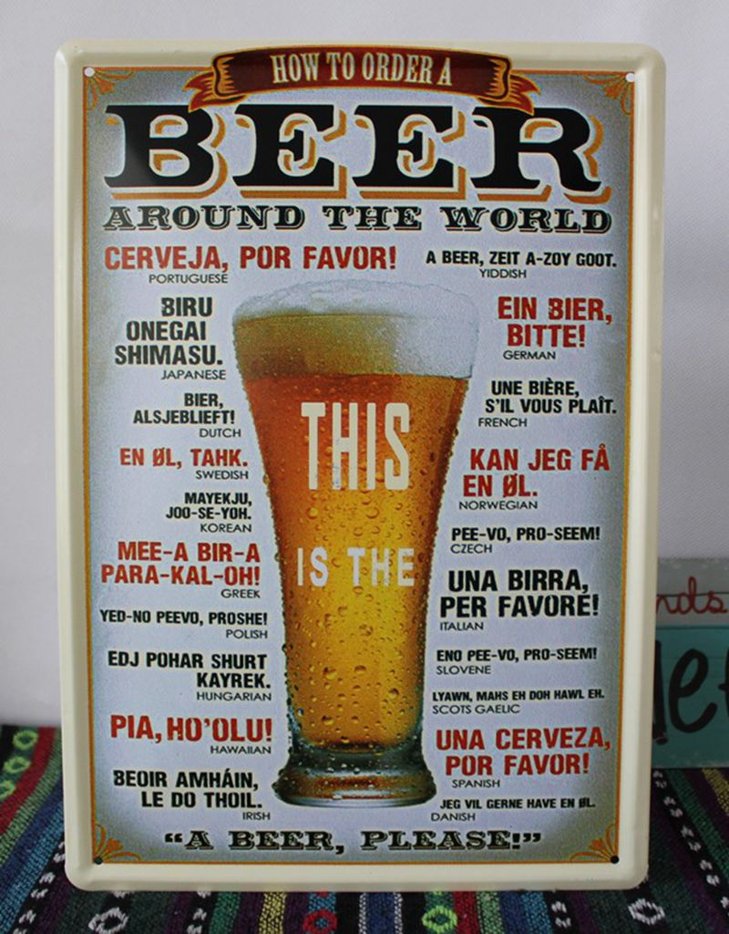 Red Top Beer Bar Pub Retro Rustic Beer Sign Decor Sign