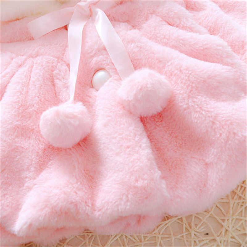 Trẻ em Bé Cô Gái Thỏ Bunny Ear Trùm Đầu Áo Khoác Ấm Áp Snowsuits Outwear 0-4 t Quần Áo Mùa Đông