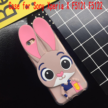 3D Cute Pink Rabbit Case for Sony Xperia X F5121 F5122 Soft Silicone TPU Cartoon Back Cover Cases Fundas Coque Capa Shell Bag