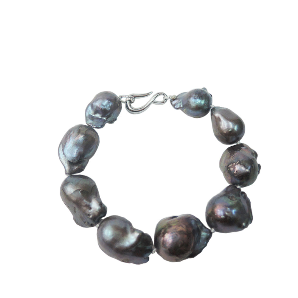 100% freshwater pearl bracelet with big AAA baroque shape,black pearl bracelet