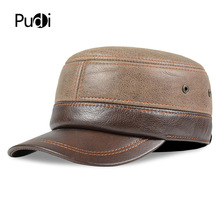 HL185 Genuine leather baseball cap hat old men's winter brand new real leather army hats caps with ear flap one size цена
