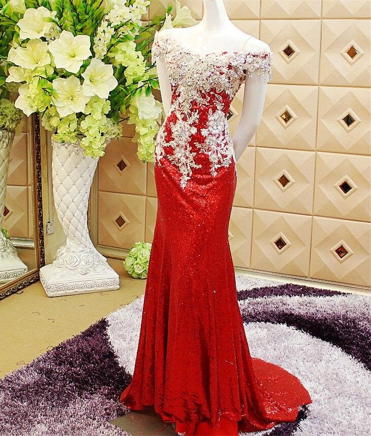 Personnalisé Photo réelle Cap manches paillettes cristal robe sirène Sexy robe robes de soirée ES10