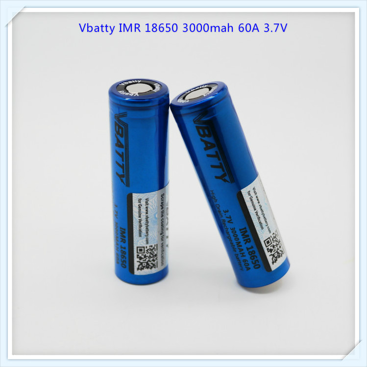 Vbatty IMR 18650 3000mah 60A 3.7V battery with flat top(1 pc)