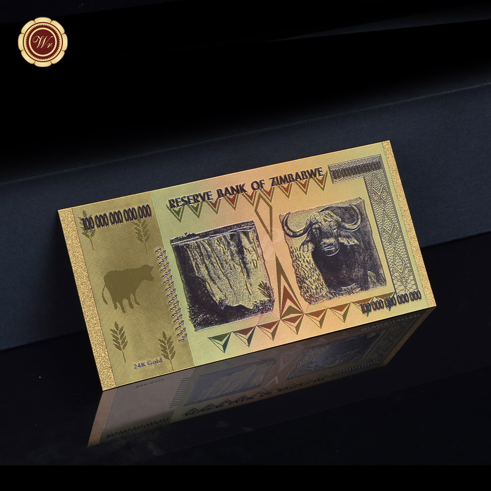 Zimbabwe 100 Trillion Colorful 24k Gold Banknote Bill