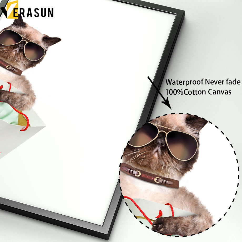 Hipster Bad Cat Take Picture Goatee Wall Art Canvas Painting Nordic Posters And Prints Wall Pictures For Kids Room Home Decor in Painting Calligraphy from Home Garden