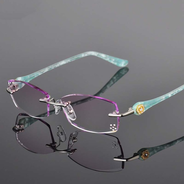 427d3c2260 1.61 Index Single Vision Prescription Eyeglasses Diamond Trimming Rimless  Luxury Glasses Frame With Gradient Tint Lenses