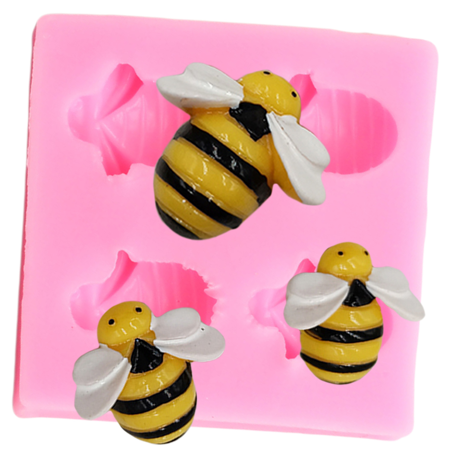 Little Bee <font><b>Fondant</b></font> Silicone Mold DIY <font><b>Cake</b></font> <font><b>Decorating</b></font> <font><b>Tools</b></font> Chocolate Candy Gumpaste Mould <font><b>Cake</b></font> Baking Sugar Craft <font><b>Tool</b></font> image