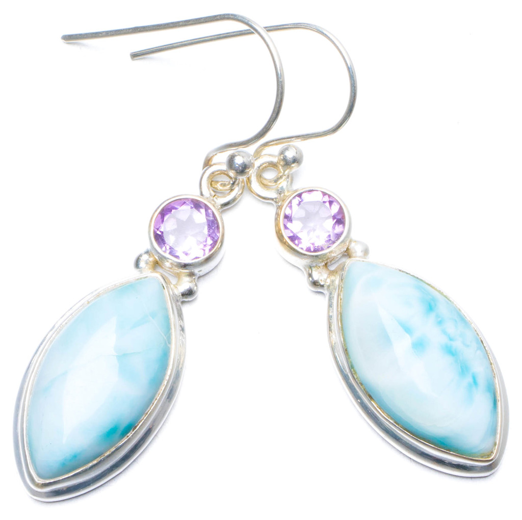 Natural Caribbean Larimar and Amethyst Handmade Unique 925 Sterling Silver Earrings 1.5 Y0696