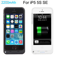Full 2200mAh External Power Bank Case Pack Backup Battery Charge Case Cover For IPhone 5 5s