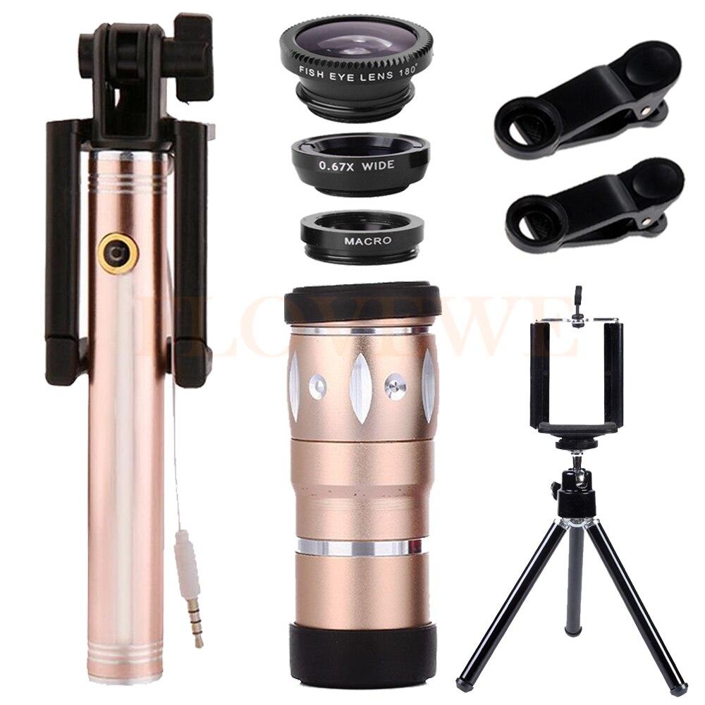 Newest HD10X Telephoto Zoom Lens Telescope Microscope Wide Angle Macro Fisheye Lentes Tripod For Smartphone Selfie Stick Monopod