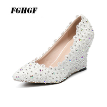 High fashion single shoe wedges lace color drill pointed high wedding shoes water Large size 43