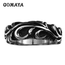 GOMAYA 316L Stainless Steel Mens Rings Cool Black Retro Vintage Carved Flower Biker Viking Rock Tibetan Women  Jewelry