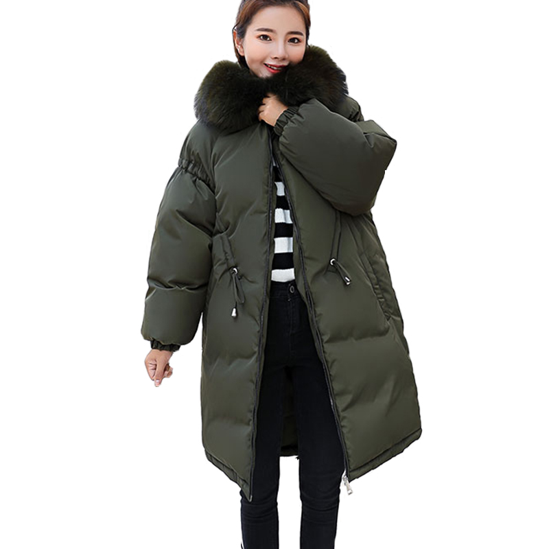 Hooded Parkas for Women Winter down jacket Big Fur 2018 New Parkas Female Long Winter Coat Thick Cotton Jacket Womens Outwear